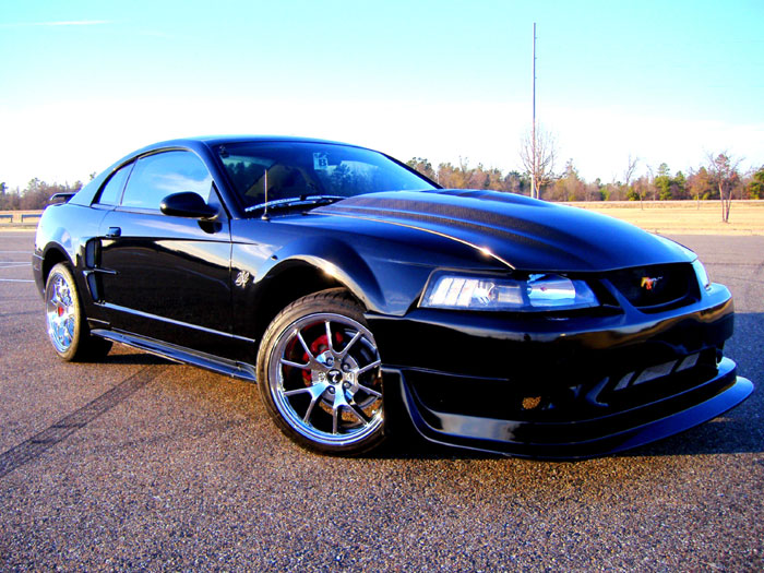 2001 Black Mustang with Chrome FR500's