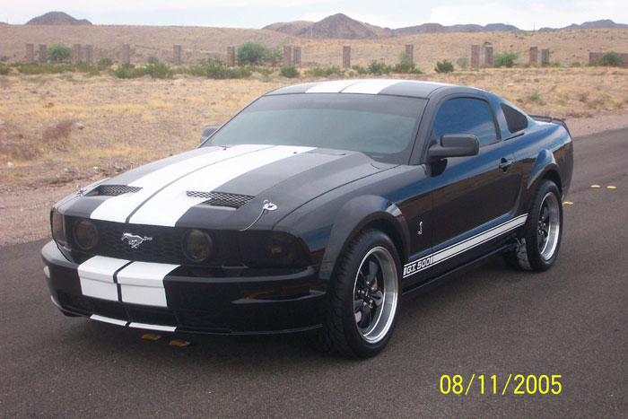 2005 Black with White Strips Mustang GT