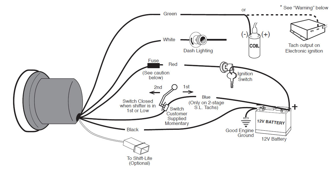 Auto Meter Tachometer Wiring Diagram on johnson control box parts diagram