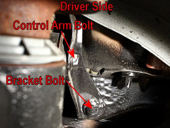 Remove Control Arm Bracket Bolts